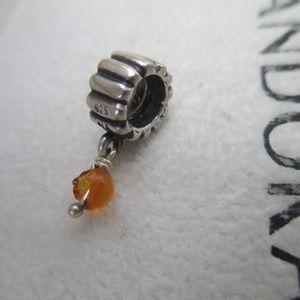 Authentic Pandora 925 ALE SS Amber Dangle Charm